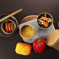 Custom printed disposable hot soup bowls with lid  kraft paper cups bowls