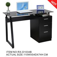 China 2018 Hotsale Black Glass Computer Desk with File Cabinet RX-D1034B on sale