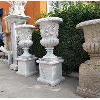 Quality Marble carvings planter stone carved flowerpot sculpture,outdoor stone garden statues supplier for sale