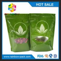 Quality Green Tea Bags Packaging Printed Mylar Stand Up Ziplock Bag With Clear Window for sale