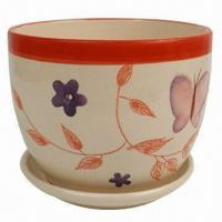 Buy cheap Ceramic Flower Pot with Flowers Painting for Home Decoration, Houseware, OEM Orders are Welcome from wholesalers