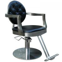 Quality PU Leather Black Salon Hair Styling Chairs Thick Metal Frame With Hydraulic Pump for sale