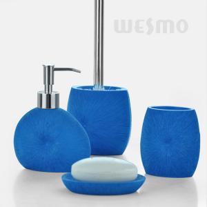 Best Royal Blue Color Bath Accessories Set / 4 Piece Polyresin Bathroom Set (WBP0343A) wholesale