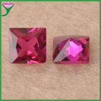 Best 5# square synthetic loose rough rubies red corundum gemstone for sale wholesale