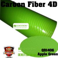 Quality 4D Glossy & Shiney Carbon Fiber Vinyl Wrapping Films--Apple Green for sale