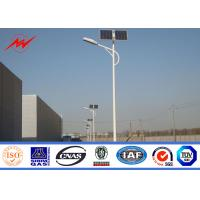 Quality Q235 Hot Dip Galvanized Street Light Poles 12m With Cross Arm 1.8 Safety Factor for sale