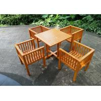Quality Waterproof Garden Table And Chairs , Solid Wooden Garden Furniture Stable Durable for sale