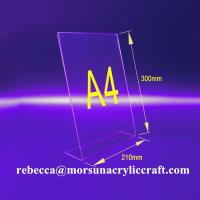 Quality L shape 3mm transparent acrylic A4 stand for brochure holders for sale