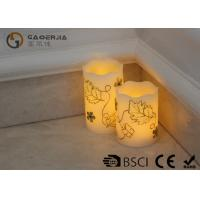 Luxury Carved Craft real Wax led Candles with flower pattern , painting candle