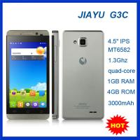 China Android Mobile Phone with Quad Core 4.5'' WCDMA 900/2100 Gorilla Screen MT6582 JIAYU G3C on sale