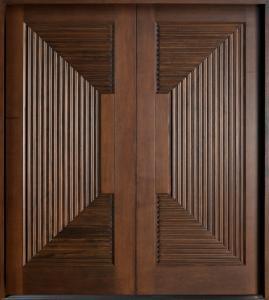 China Double interior swing solid wooden door, modern wood door price on sale