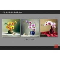 Quality Yellow Bamboo Fiber Fake Tile Wall Panels Embossed Triptych Art Painting Moth Orchid for sale