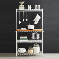 China Baker's Wire Metal Shelving Rack White Powder Coating Steel With Wooden Shelf on sale