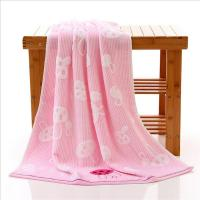 China Woven Rabbits Pink Bamboo Bath Towels / Adult Beach Towels For Swimming on sale