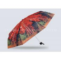 Red Mini Parasol Pocket Size Umbrella , Five Fold Umbrella Strong Aluminum Frame