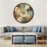 China Bottle Cap Metal Rustic Decorative Wall Clocks Wood Wall Clock Silent Antique Bottle Caps Shape Non-Ticking Silent on sale