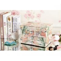 Quality Home Decoration Square Mirrored Glass Jewellery Box With Drawers High Hardness for sale