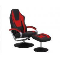 China Black & Red Vinyl Recliner Home Office Desk Chair With Ottoman / Adjustable Computer Chair on sale