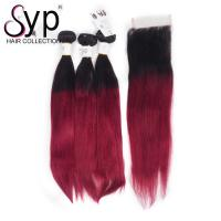 China 99J Straight Blonde Ombre Hair Extensions / Dark Root To Burgundy Crochet Two Tone Braiding Hair on sale