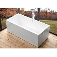 Quality Deep Soaking Rectangle Acrylic Free Standing Bathtub With Overflow Space Saving for sale
