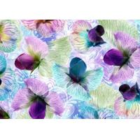 Anti Wrinkle Digital Silk Jersey Fabric 1.4 Meter With Flowers Decoration