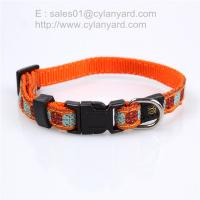 China Woven label applied ribbon dog collar, double layered polyester pet collar on sale