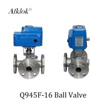 China Stainless Steel Sanitary 3 way flange Electric Motor Ball Valve on sale