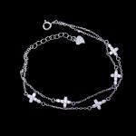 Quality Little Cross Shape Personalized 925 Silver Cubic Zirconia Bracelet Minimalist Style for sale