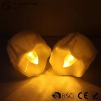 China Yellow Flickering Timing Flameless LED Tea Light Candles with Timer ,  Wax Dripped Battery Operated on sale