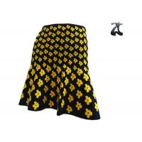 China Casual Ladies Knit Skirts Banded Waist , Warm Jacquard Skirt with Yellow Flower on sale