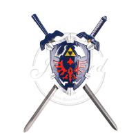 Quality Long Video Game Replica Swords Legend Of Zelda Hylian Shield And Sword Wall Display Set for sale