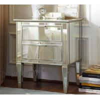 China Hotel Mirrored Nightstand In Bedroom , CE Two Drawer Mirrored Bedside Table on sale