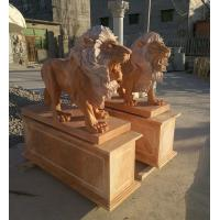 Quality Garden decoration Stone walking lions pink marble animal sculpture,stone carving supplier for sale