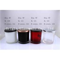 Quality Colorful Glass Candle Holder , Candle Jar With Lid Cover for sale