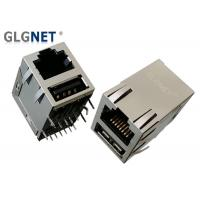 China Magnetic Tab Up RJ45 Modular Jack RJ45 USB Connector With USB 2.0 Interface on sale