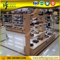 China Modern design heavy duty wooden wall mounted display shelfs for shoe store on sale