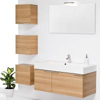 China Wall Mounted customized modern red birch solid wood bathroom vanity base cabinets on sale