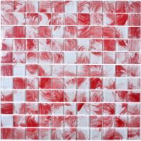 China 4mm thickness red and white hand painted glass mosaic decorative glass tiles on sale