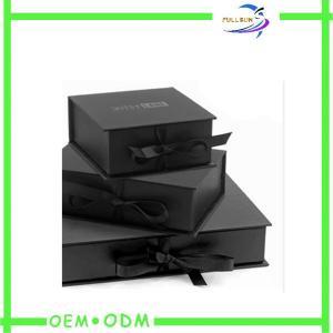 Best Ribbon Closure Flat Folding Magnetic Closure Gift Box Custom Print wholesale