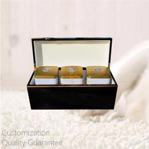 China Luxury High Gloss Wholesale Tea Brands Black Wooden Tea Caddies Storage Display Chest Box, Personalized Logo Brand. on sale