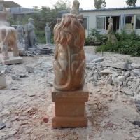 Quality Antique Wildlife Sculpture Life Size Red Marble Stone Lion Pair Garden Statue for sale