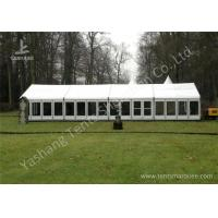 Quality White Fabric Top Outdoor Event Tent , Aluminum Profile Hard Glass Wall Tent for sale