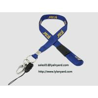 Best Silk Screen Yellow Print Removable Safety Clasp Blue Neck Lanyard with Metal Split Ring wholesale