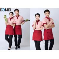 Quality Stripe Shirt Restaurant Staff Uniforms Embroidered Workwear For Women for sale