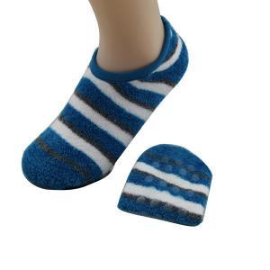 China Custom logo, desig nylon striped design yoga gel ankle socks with grip sole on sale