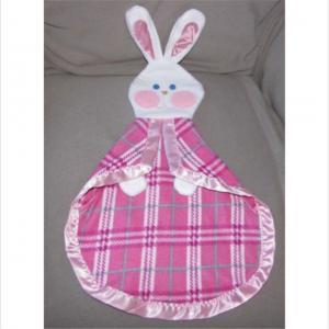 China Cute Soft Kids Plush Dolls Baby Bunny Security Blanket Lovey Fleece Satin on sale