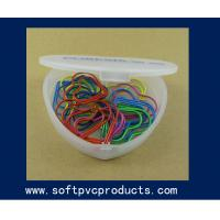 Quality Lovely Customized Heart Shaped PVC Paper Clip / Creative Paper Clips for Christmas Gifts for sale