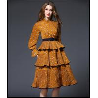 Quality fashion polyester print layered skirt fringed dress medium style for sale