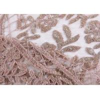 Buy cheap Ostrich Feather Bridal Lace Fabric / Embroidery Gold Sequin Lace Fabric from wholesalers