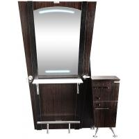 Quality Elegant Solid Wood Hair Stylist Stations With Cabinet , Hair Salon Stations for sale